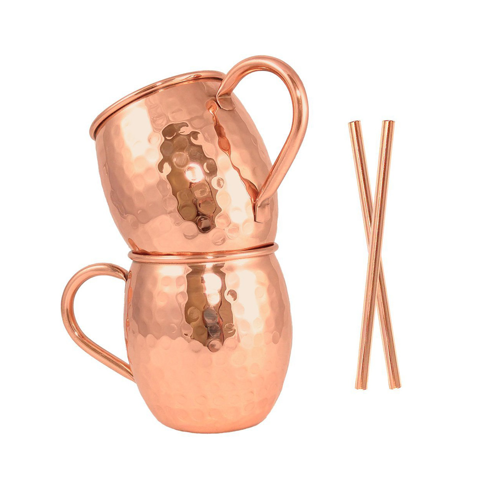 Artisan's Anvil Pure Copper Moscow Mule Mugs Set of 2 with Straws