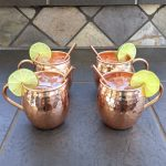 4 Copper Mugs with Straws